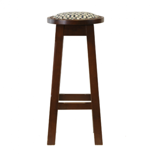 Button High Stool Dark Walnut Padded Stud Dash Blue 3